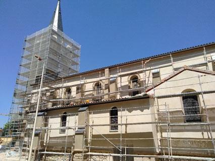 Mise en peinture du clocher avec des eaux fortes